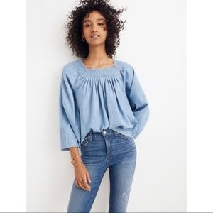 Madewell Chambray Square-Neck Top Size Small NWT